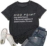 It's a Moo Point T Shirt Women Funny Friends TV Show Shirts Short Sleeve Crew Neck T-Shirt Tee Top (X-Large, Black)