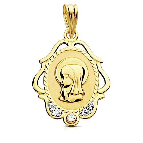 Medalla oro 9k Virgen Niña marco tallado circonitas 22mm. [AB3220GR] - Personalizable - GRABACIÓN INCLUIDA EN EL PRECIO