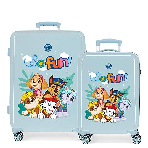 Paw Patrol Playful Suitcase Set Blue 55/68 cm Rigid ABS Side Combination Lock 104L 2.7 kg 4 Double Wheels Hand Luggage