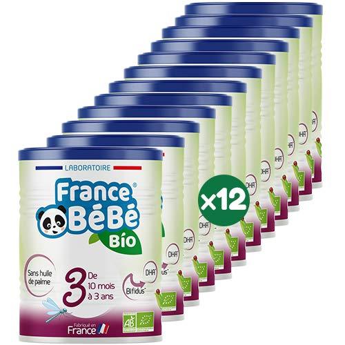 FRANCE BéBé BIO - Lait infantile de croissance bébé 3ème âge en poudre - BIFIDUS - OMEGA 3 - SANS HUILE DE PALME - Lait fabriqué en France - 13 Vitamines 12 Minéraux - Pack 12 boîtes de 400g