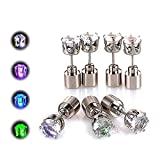 AYAMAYA 4 Pairs LED Light Up Earrings, LED Earring Studs Party Flashing Blinking Stainless Steel Christmas Decoration Gifts for Mom Women Men Boyfriend Wife Girlfriend Husband (Green+Blue+Purple+White)