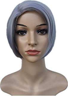 Nkns Ladies Wig Short Straight Hair Wig Bob Straight Hair Fluffy Wig Chemical Fiber Wig Light GrayWigGlue Removal