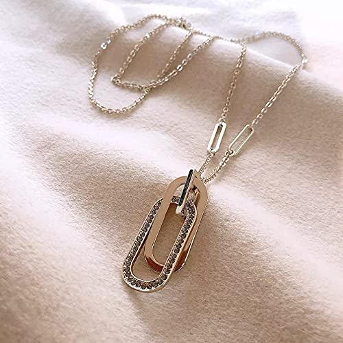 Collar con colgante de mujer Collar colgante largo circonita cristal mujer cadena...