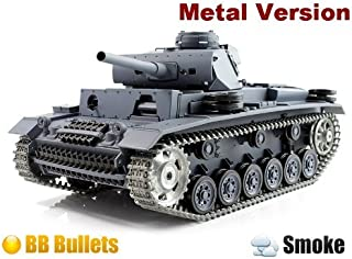 1/16 German PanzerKampfwagen III Air Soft RC Battle Tank Smoke & Sound (Upgrade Version w/ Metal Gear & Tracks)