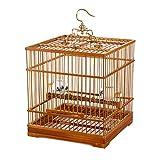 ZTMN Jaulas para pájaros Bambú Antiguo Boutique Artesanal Cuadrado Jaula de pájaros Bordado Ojos Amarillo Brid Pearl Bird Acacia Jaula de pájaros Fondo Vivo Nido de pájaro