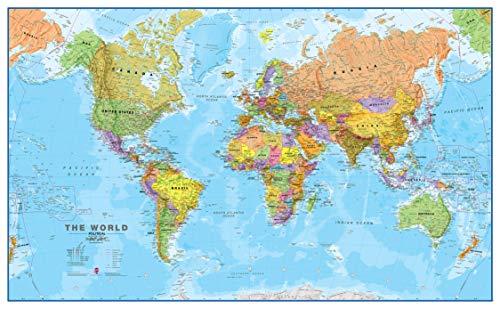 Maps International - Mappa del mondo di grandi dimensioni – Poster con mappa del mondo politica - Laminato - 118.9 (l) x 84.1(a) cm