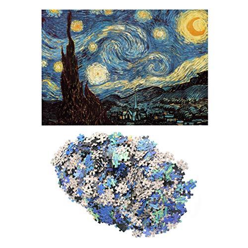 TOYANDONA Rompecabezas para Adultos Rompecabezas de 1000 Piezas Rompecabezas de la Noche Estrellada Van Gogh Colorido Juego de Rompecabezas de Pintura al óleo para niños Adultos