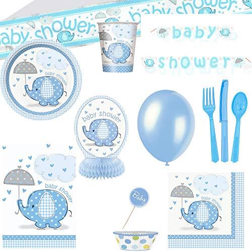 Partybob Jungen Babyparty Set - Baby Shower Deko und Tableware - Elefanten