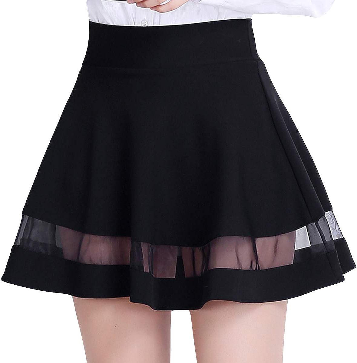 DISSA AD952 Women Pleated Mini A-Line Skirt