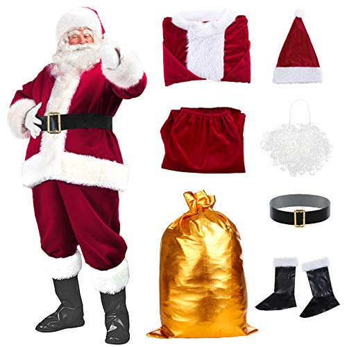 Santa Suit Christmas Santa Claus Costume for Men Women Adult Costume Santa 10 pc Outfit (maroon)