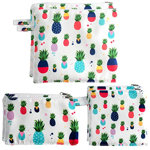 JCK Bags 6PC 8oz cotton and PEVA Dual Layer Snack Bags  Dishwasher Safe Premium Quality Sandwich Bags Pineapple