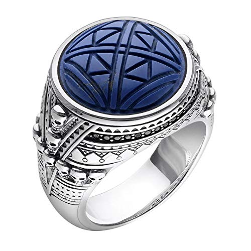 Thomas Sabo Unisex Ring Ethnic Skulls Blue 925 Sterling Silver, Blackened TR2204-534-1