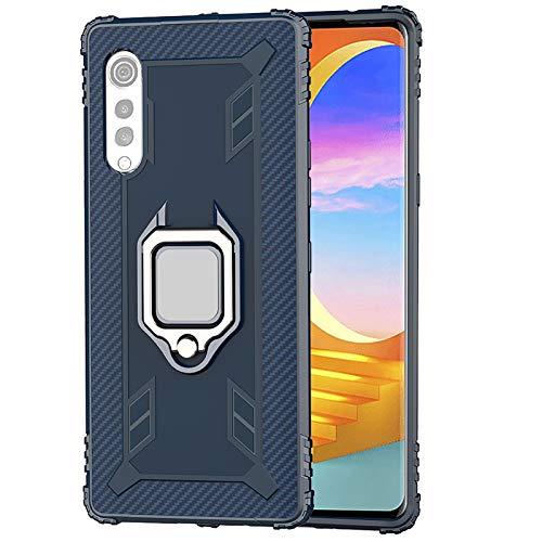 TANYO Funda para LG Velvet (5G / 4G), Carcasa TPU Silicona con Soporte, Protección Bumper Case Robusta Teléfono Cover, Azul