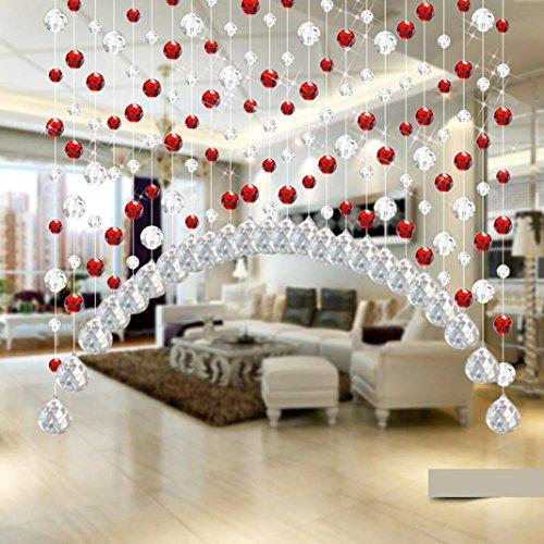 Igemy 1x1M Glas Kristall Perle Vorhang Luxus Wohnzimmer Schlafzimmer Fenster Tür Hochzeit Dekor (Rot)