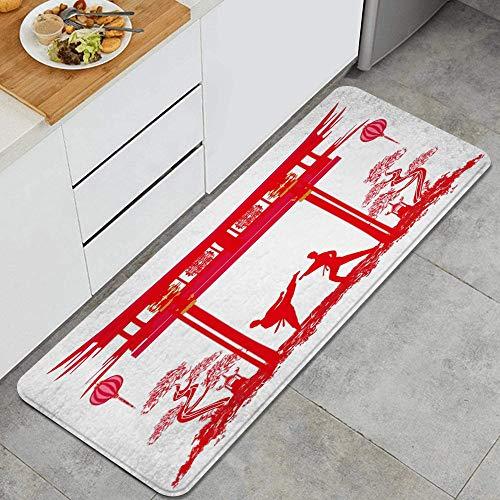 PANILUR Alfombras para Cocina Baño de Cocina,Karate Ocupaciones Abstracción Personas Kimono Activo Recreación Deportiva Cinturón de Atleta Caja de Cuerpo Negro,para Dormitorio Baño Antideslizantes