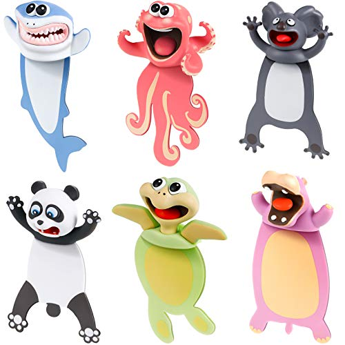 6 Pieces Wacky Bookmarks Animal Bookmarks 3D Squashed Bookmarks for Kids Students Teachers, Funny Bookmark for Reading