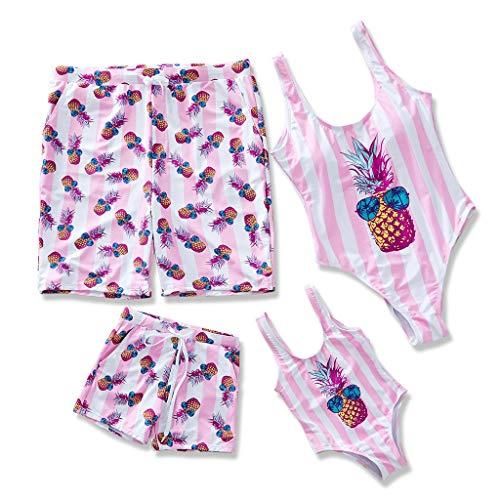IFFEI Family Matching Swimsuit Pineapple Printed Striped Monokini One Piece Bathing Suit Beach Wear (Girls' 3-4 Years, Pink)