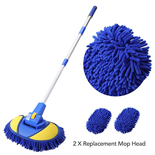 RUN STAR Car Wash Brush Mop Thick and Long Aluminum Handle Chenille Microfiber Wash Mitt Scratch Free, Car Wash Kit Brush Duster, Rotatalbe 2 in 1 Car Cleaning Supplies for RV Truck Car,2020 Upgraded