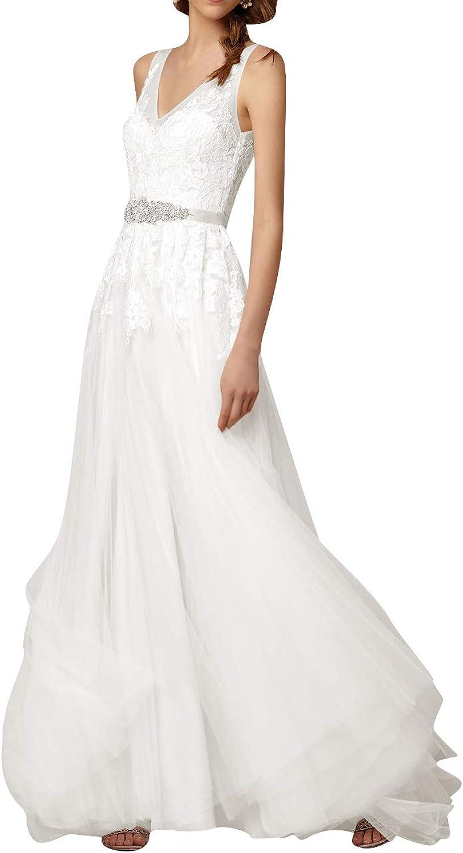 Wedding Dress for Bride Lace Bridal Dresses with Belt A Line Bride Dress V Neck