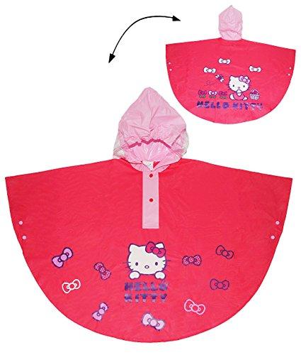 """Regenponcho / Regencape - """" Hello Kitty """" - Gr. 128 - 140 - circa 6 bis 8 Jahre - für Kinder - Mädchen - Tiere Katzen Fahrrad / Regen Poncho - Regenmantel Regenjacke - Kätzchen Schleife / pink rosa"""