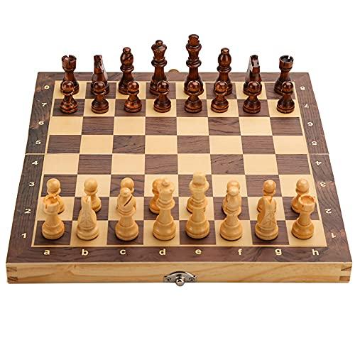 Yasorn Juego de ajedrez Plegable Ajedrez de Madera magnético Juego de Tablero de ajedrez clásico con Pieza de ajedrez Hecha a Mano / Ranuras de Almacenamiento para niños, Adultos, Principiantes