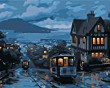 Painting by Numbers Kits DIY Canvas Paint for Adults Kids Beginner-Tram-40x50cm(no Frame)