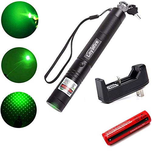 Loyalfire Green Beam Light Pointer, Tactical High Power Flashlight, Adjustable Focus with Visible Torch Pen for Hunting Hiking Outdoor Projector Travel, Cat Dog LED Interactive Toy