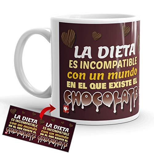 Kembilove Tazas de Desayuno CREA – Tazas de Café Divertidas y Graciosas con Mensaje La Dieta es Incompatible con un Mundo en el Que Existe el Chocolate – Tazas de cerámica de 350 ml – Regalo Original
