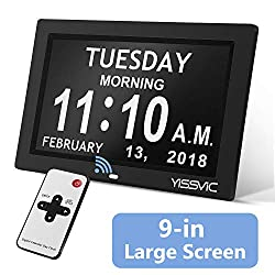 """YISSVIC Day Clock 9"""" Digital Calendar Clock with Remote Optional Digital Photo Frame Function with 12 Alarms 8 memos 5 Adjustable Brightness 9 Languages Non-Abbreviated Day Date Week Display"""