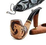 """La pipa fatta del pero di alta qualita, lavorazione a mano """"Drago"""" + la borsa da tabacco"""