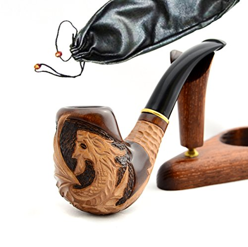 'Dragon II' Wooden Hand Made Tobacco Smoking Pipe Pouch Pipes Pear Wood