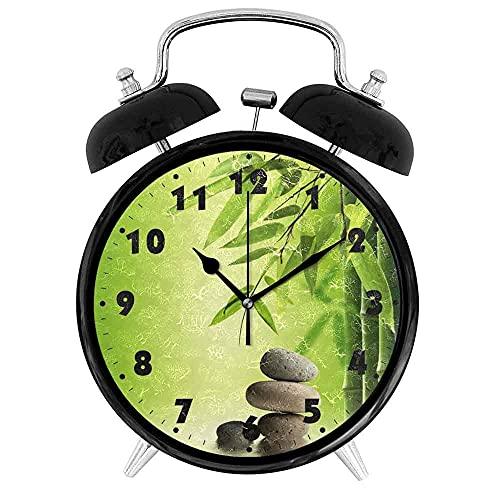 Despertador Bamboo and Stone - Reloj Despertador Ruidoso - 4 eloj Despertador De Cuarzo - Reloj Despertador Creativo Contemporáneo Redondo