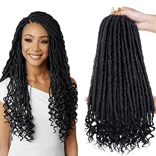 6 Packs Déesse Faux Locs Crochet Cheveux 18 Pouces Droite Déesse Locs Crochet Cheveux Hippie Locs Synthétique Tresses Extensions de Cheveux
