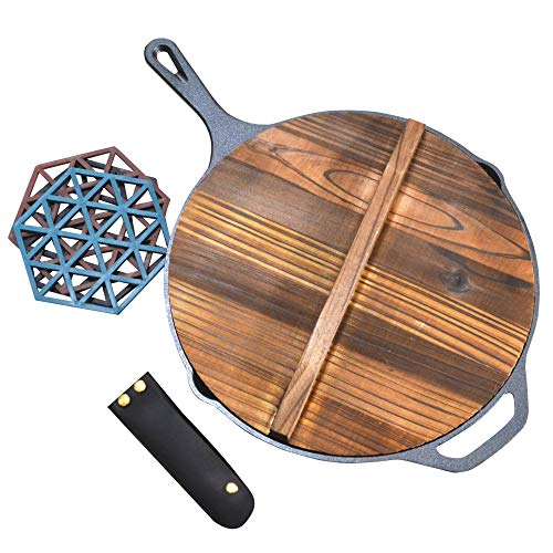 IRONSTEN Cast Iron Skillet With Lid 12 Inch and Leather Handle Covers and Silicone Hot Pads  No Coating  Wooden Lid  Pre Seasoned Cast Iron Pan