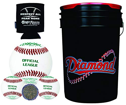 Diamond Sports 6-Gallon Ball Bucket with 30 DOL-1 BLEM Leather Practice Baseballs and Rods Insolated Can Sleeve