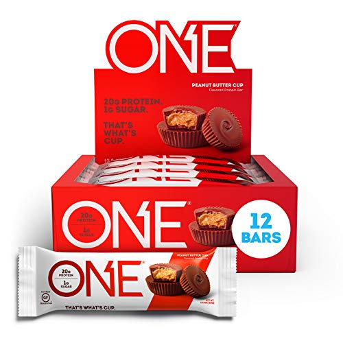 ONE Protein Bars Peanut Butter Cup Gluten Free Protein Bars with 20g Protein and only 1g Sugar GuiltFree Snacking for High Protein Diets 212 oz 12 Pack