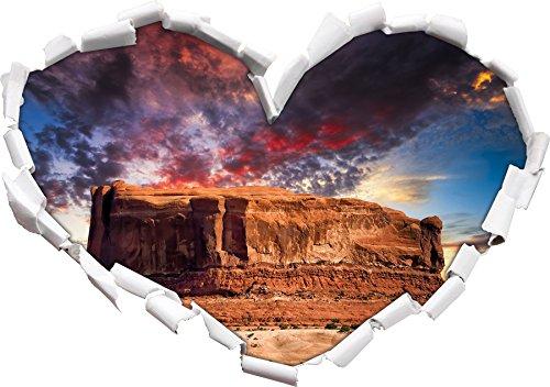 Forme de Coeur de Mighty Monument Valley USA dans Le Regard 3D, Mur ou Un Autocollant de Porte Format: 62x43.5cm, Stickers muraux, Stickers muraux, Décoration Murale