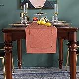 FYJS Camino de mesa en ángulo plano, cable de lino de imitación de color liso, ideal para regalo, rectangular, decorativo para comedor, cocina, 33 x 180 cm, naranja