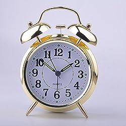MeterMall HITO 4` Silent Quartz Analog Twin Bell Alarm Clock with Nightlight and Loud Alarm (NO15)