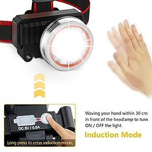 Linterna Frontal LED Recargable, Gritin Linterna Frontal Cabeza USB 3 Modos con Sensor y 2000 Lúmenes Alto Brillante Ajustable Impermeable para Correr, Acampar, Excursión, Pesca, Ciclismo
