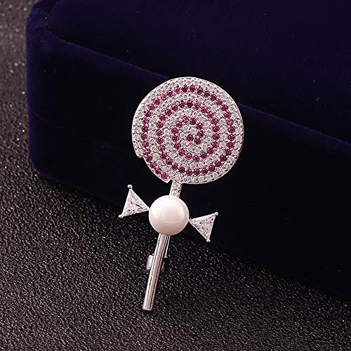 QXX Coreano Lindo Broche Micro con Incrustaciones de Zircon Crystal Pearl Lollipop Ladies Coat Hat Accesorios