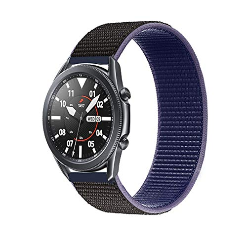 HGGFA 20 22mm Watch Band for Gear S3 Frontier Strap Galaxy Watch 3 45mm 41mm 46 Active 2 44mm 40mm Nylon para Huawei Watch GT2E / 2 Strap 42 (Band Color : Midnight Blue 43, Band Width : 22mm)