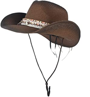 HAOHAO 100% Natural Straw Cowboy Hat Women Handmade Weave Cowboy Hats for Lady Tassel Summer Western Sombrero Hombre Lifeguard Hats Fashion Caps Accessories (Color : Coffee, Size : 56-58)