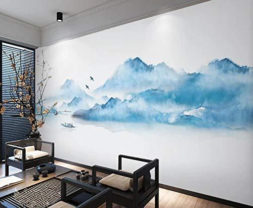 Papel Pintado Pared 3D Fotomurales Paisaje De Tinta Azul Zen Chino Pared Papel 3D Foto Mural Pared