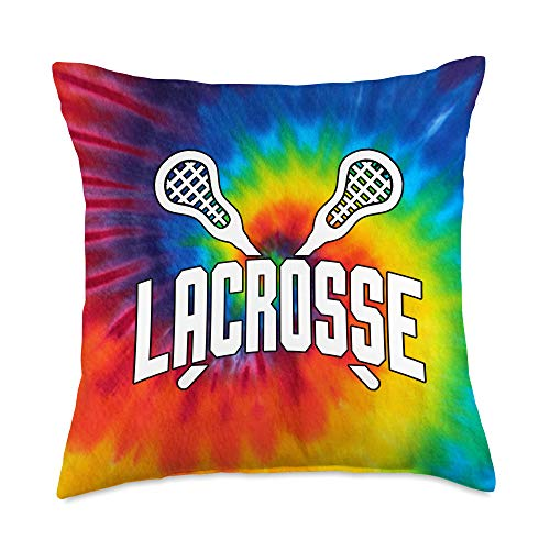 Lacrosse Gift for Girls Lacrosse Rainbow Tie Dye Teen Girl Player Gift Throw Pillow, 18x18, Multicolor