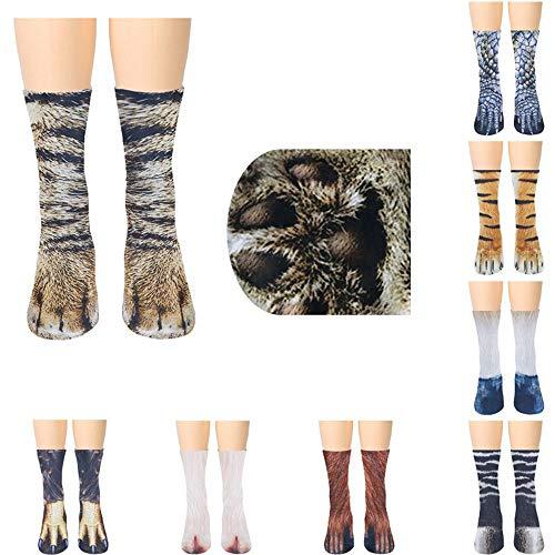 MoonyLI Unisex Tierfüß Socken Tierpfote 3D Simulation Print Crew Socken lustige Tiermuster Kindersocken 8 Paar