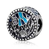 Charm de pescado de plata de ley 925 con abalorio de coral para pulsera Pandora