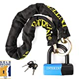 INTEKIN Motorcycle Lock Bike Chain Lock 3.3FT Motorcycle Chain Lock Bike Locks Heavy Duty Anti Theft Motorcycle Security Chain Lock with 16mm Disc Lock for Motorcycles, Bikes, and More, Blue