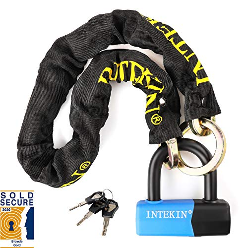 INTEKIN Motorcycle Chain Locks Bike Chain Lock 3.3FT Motorcycle Lock Heavy Duty Bike Lock Motorcycle Security Chain Lock Bicycle Lock with 0.64inch Disc Lock for Motorcycles, Bikes, and More