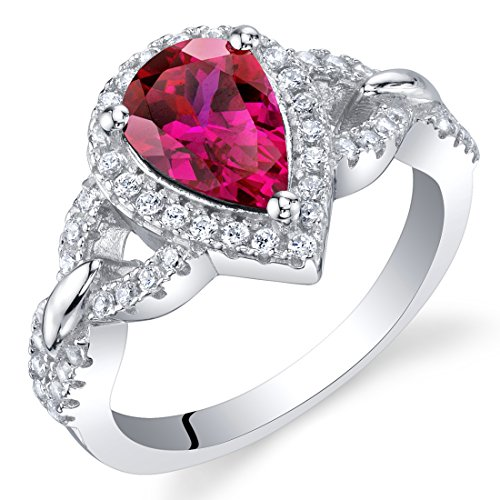 Created Ruby Sterling Silver Halo Crest Ring Size 8